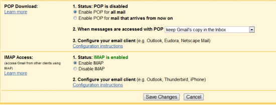 POP and IMAP Setting for Gmail